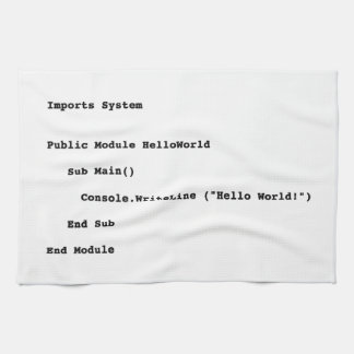 Visual Basic Hello World Greeting Tea Towel