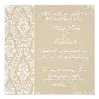 Vitage damask wedding invitation