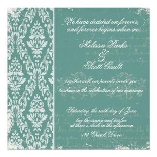 Vitage damask wedding invitation Blue