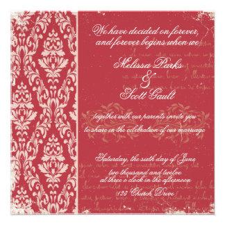 Vitage damask wedding invitation Red