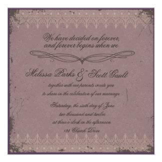 Vitage eggplant damask wedding invitation