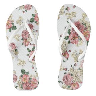 Vitage floral flip flops