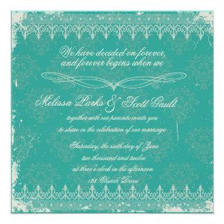 Vitage turquoise damask wedding invitation