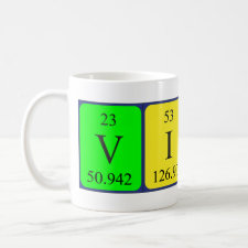 Mug featuring the name Vitali spelled out in symbols of the chemical elements