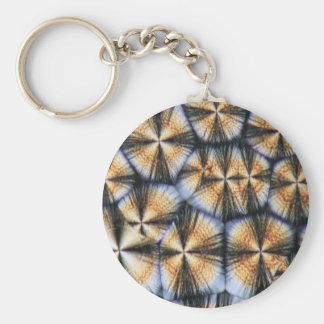 Vitamin C crystals under the microscope Basic Round Button Key Ring