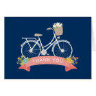 Vitnage Bicycle Floral Navy Blue Coral Thank You Card