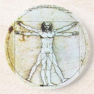 VITRUVIAN MAN Antique Parchment Coaster