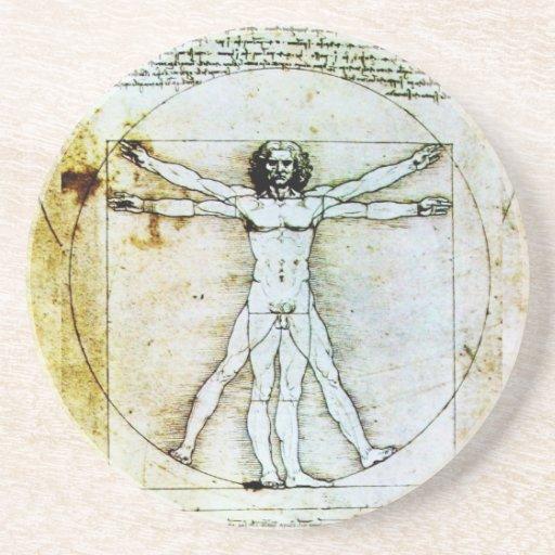 VITRUVIAN MAN Antique Parchment Beverage Coasters