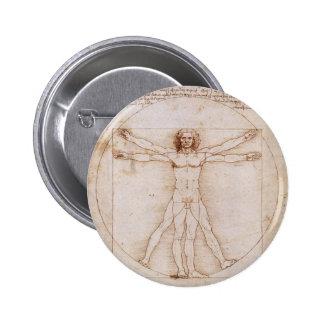 Vitruvian Man by Leonardo da Vinci 6 Cm Round Badge