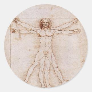 Vitruvian Man by Leonardo da Vinci Round Stickers