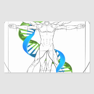 Vitruvian Man DNA Rectangular Sticker