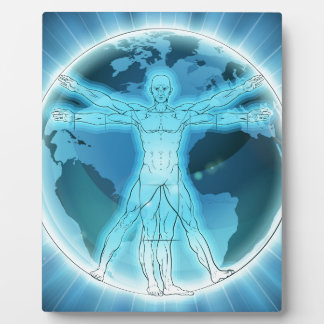 Vitruvian Man Earth Globe World Background Plaque