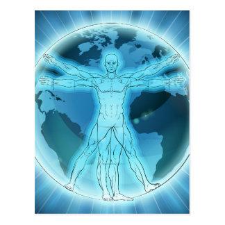 Vitruvian Man Earth Globe World Background Postcard
