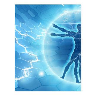 Vitruvian Man Hexagon Background Postcard