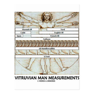 Vitruvian Man Measurements Post Cards