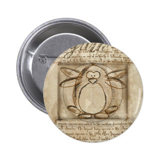Vitruvian Penguin 6 Cm Round Badge