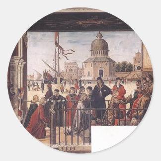 Vittore Carpaccio- Arrival of English Ambassadors Round Sticker