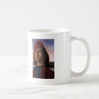 Vittore Carpaccio- Portrait of Man with Red Beret Basic White Mug