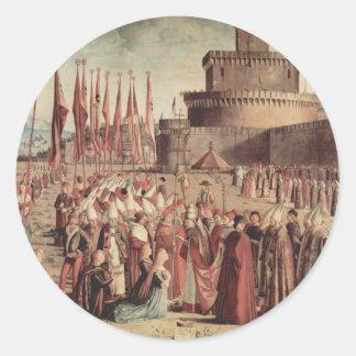 Vittore Carpaccio- The Pilgrims Meet Pope Cyriac Round Sticker