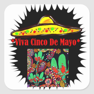 VIVA CINCO DE MAYO SQUARE STICKER