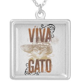 Viva Gato 2 Square Pendant Necklace