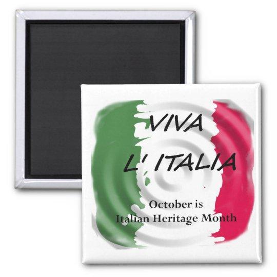 VIVA ITALIA Italian Heritage Square Magnet