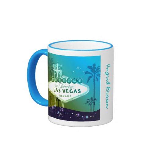 Viva Las Vegas Blue Customizable Name Mugs