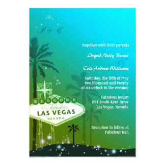 """Viva Las Vegas Teal Monogram Wedding Invitations 5"""" X 7"""" Invitation Card"""