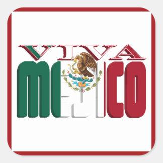 VIVA MEJICO Mexican Flag Text Square Sticker