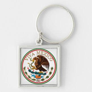 Viva Mexico Mexican Flag Icon w/ Gold Text Key Ring