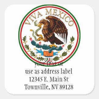 Viva Mexico Mexican Flag Icon w/ Gold Text Square Sticker