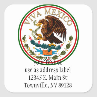 Viva Mexico Mexican Flag Icon w/ Gold Text Square Stickers
