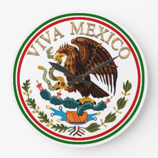 Viva Mexico Mexican Flag Icon w/ Gold Text Wall Clocks