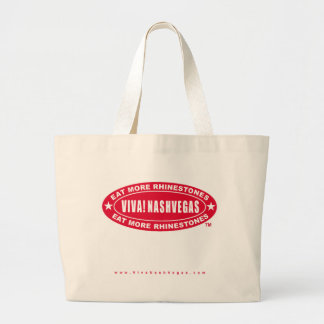 VIVA! NASHVEGAS eat more rhinestones TM Oval Logo Jumbo Tote Bag