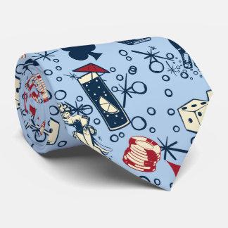 Viva Vegas Casino Retro Gambling Blue Tie