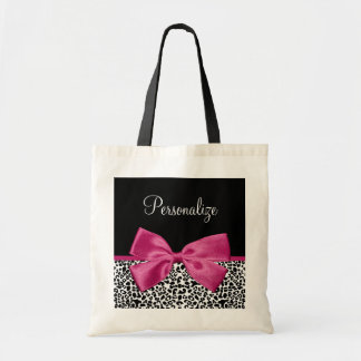 Vivacious Dark Pink Ribbon Leopard Print With Name