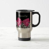 Vivacious Dark Pink Ribbon Leopard Print With Name 15 Oz Stainless Steel Travel Mug