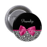 Vivacious Dark Pink Ribbon Leopard Print With Name 6 Cm Round Badge