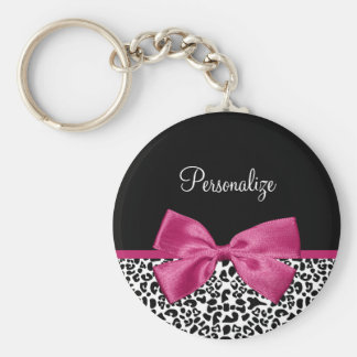 Vivacious Dark Pink Ribbon Leopard Print With Name Basic Round Button Key Ring