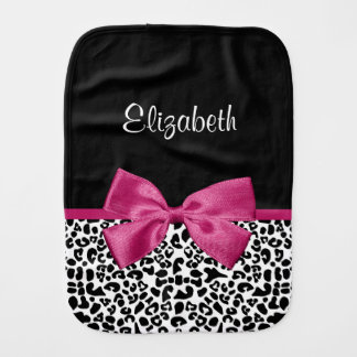 Vivacious Dark Pink Ribbon Leopard Print With Name Burp Cloth