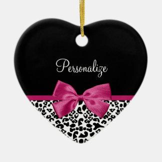 Vivacious Dark Pink Ribbon Leopard Print With Name Ceramic Heart Decoration