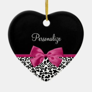 Vivacious Dark Pink Ribbon Leopard Print With Name Christmas Ornament