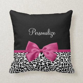 Vivacious Dark Pink Ribbon Leopard Print With Name Cushion