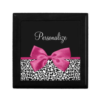 Vivacious Dark Pink Ribbon Leopard Print With Name Gift Box