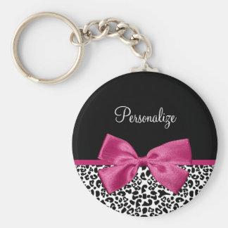 Vivacious Dark Pink Ribbon Leopard Print With Name Key Ring