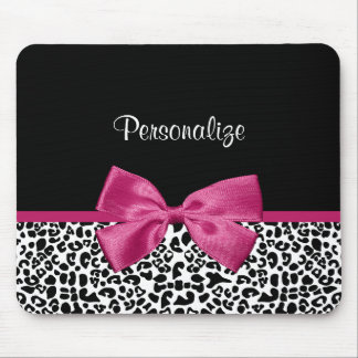 Vivacious Dark Pink Ribbon Leopard Print With Name Mouse Mat