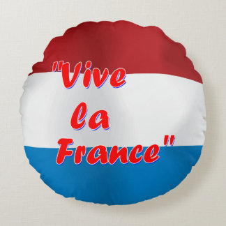 Vive la France text with French flag Round Cushion