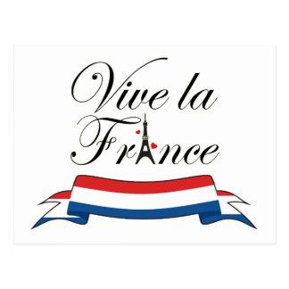 Vive la France Typography Postcard