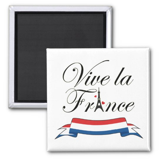 Vive la France Typography Square Magnet