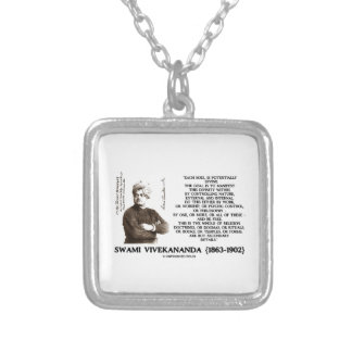 Vivekananda Each Soul Potentially Divine Be Free Square Pendant Necklace